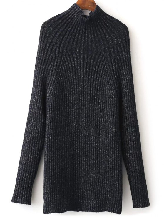 Tight Raglan Sleeve Ribbed Sweater - PURPLISH BLUE ONE SIZE Mobile