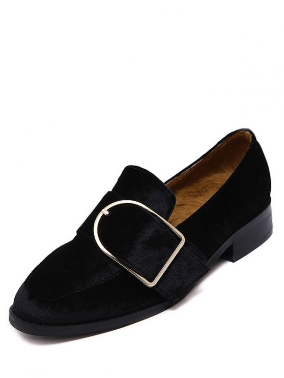 Belt Buckle Square Toe Velvet Flat Shoes - BLACK 37 Mobile