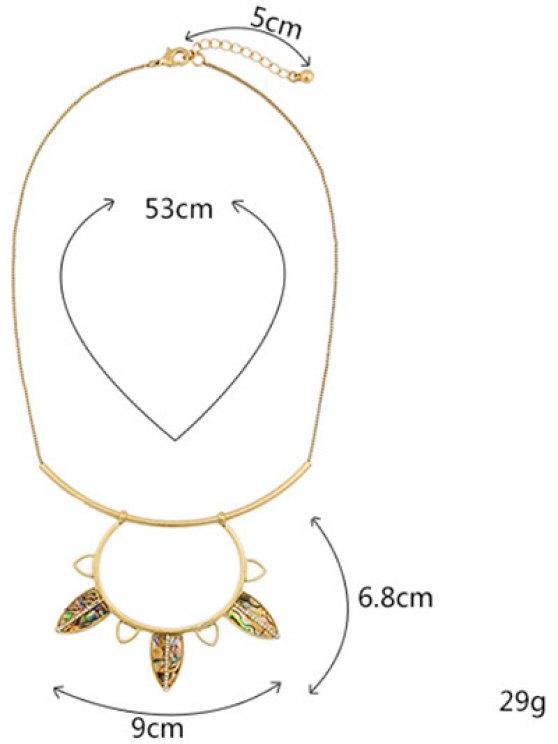 Vintage Leaves Rhinestone Necklace - GOLDEN  Mobile