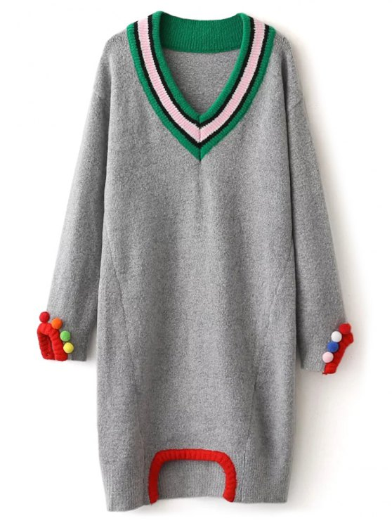 Fuzzy Cricket Sweater Dress - GRAY ONE SIZE Mobile