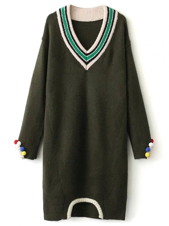 Fuzzy Cricket Sweater Dress - ARMY GREEN ONE SIZE Mobile