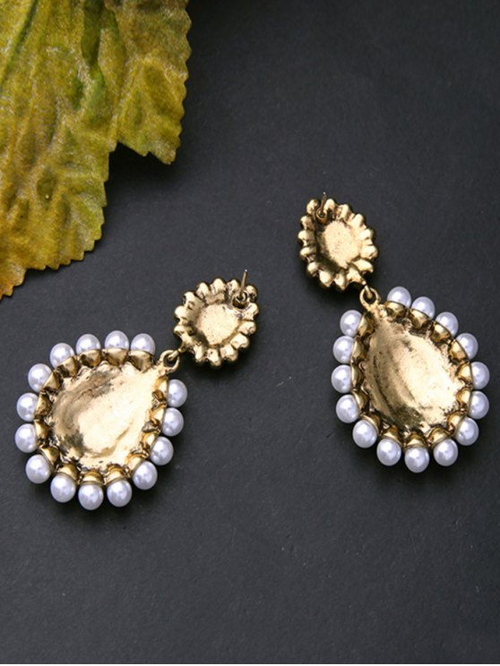 Vintage Artificial Pearl Gem Teardrop Earrings - GOLDEN  Mobile