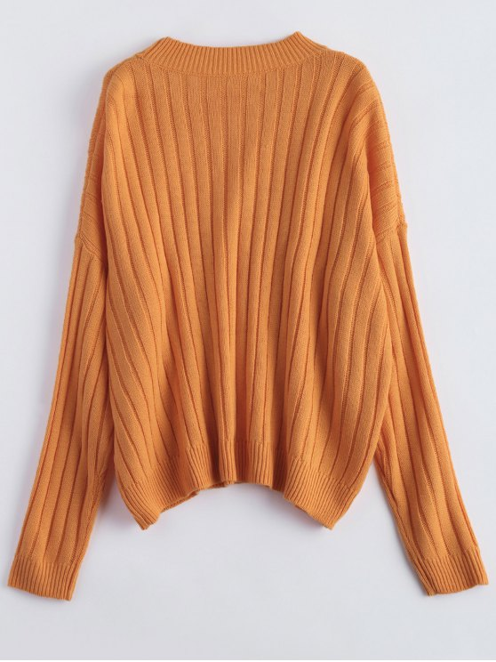 Rib Oversized Dolman Jumper - ORANGE ONE SIZE Mobile
