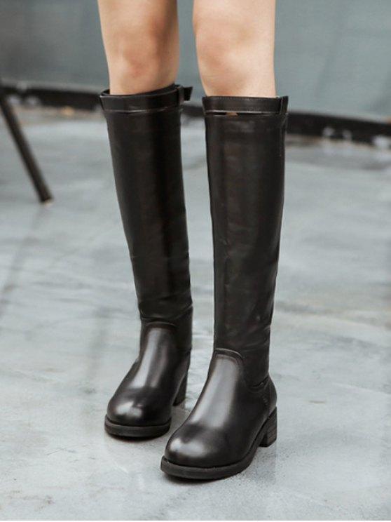 Belt Buckle Zipper Knee High Boots - BLACK 38 Mobile