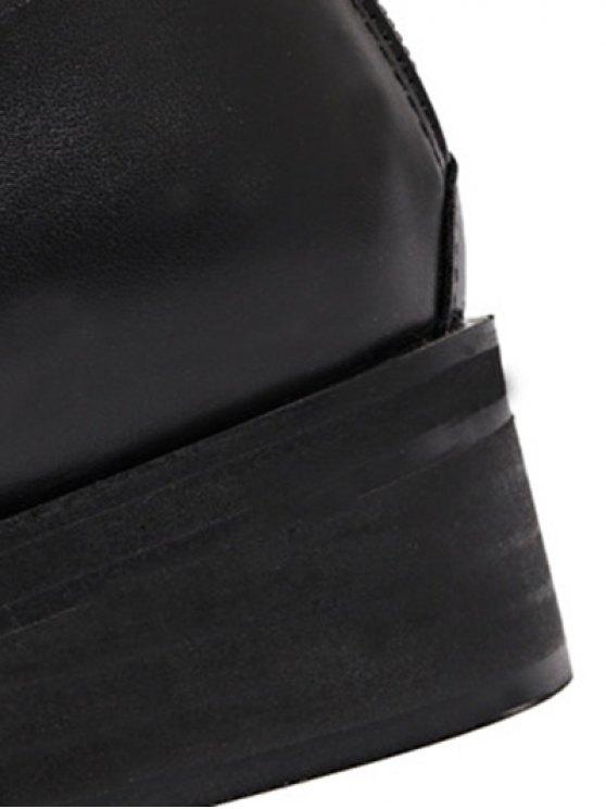 Belt Buckle Zipper Knee High Boots - BLACK 39 Mobile