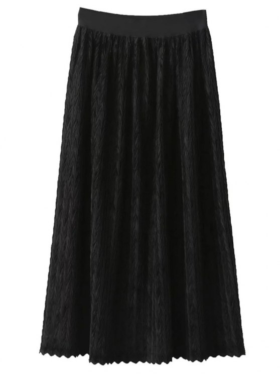 Maxi Pleated Skirt - BLACK ONE SIZE Mobile