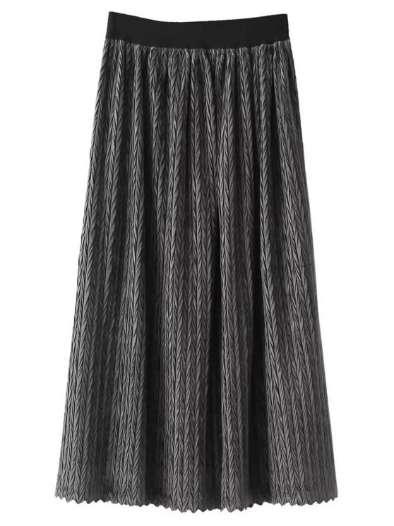 Maxi Pleated Skirt - GRAY ONE SIZE Mobile