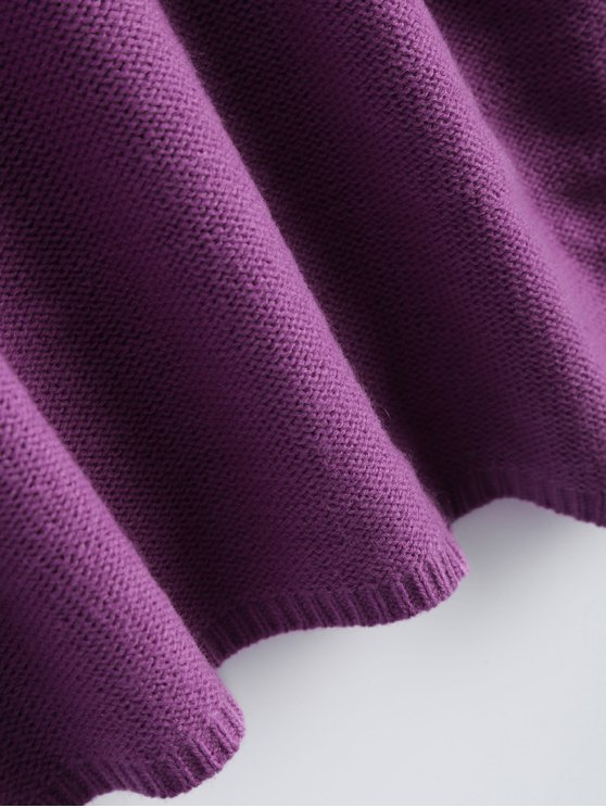 Oversized Cable Jumper Dress - PURPLE ONE SIZE Mobile