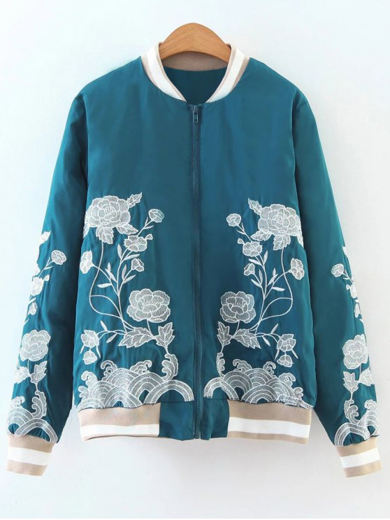 Zipper Floral Embroidered Bomber Jacket - LAKE BLUE S Mobile