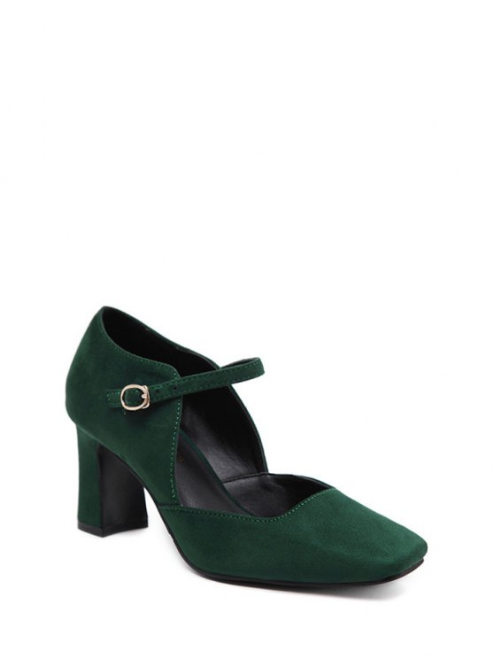 Flock Block Heel Square Toe Pumps - BLACKISH GREEN 39 Mobile