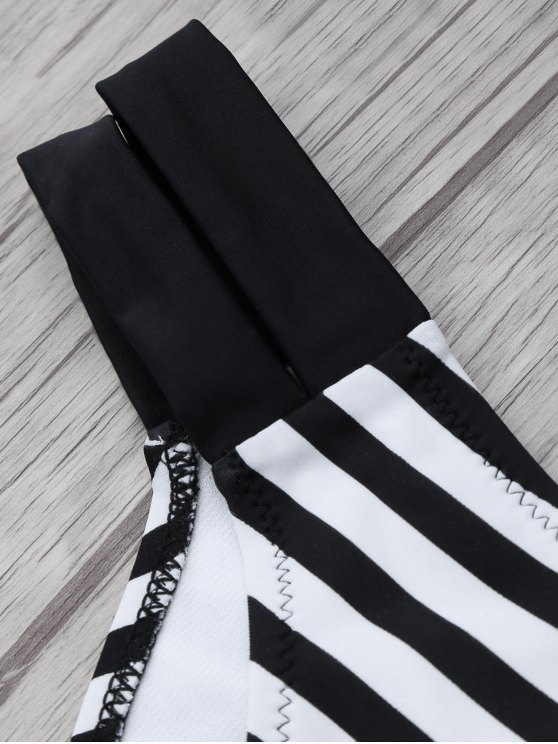 Halter Two Tone Striped Bikini - WHITE AND BLACK 2XL Mobile