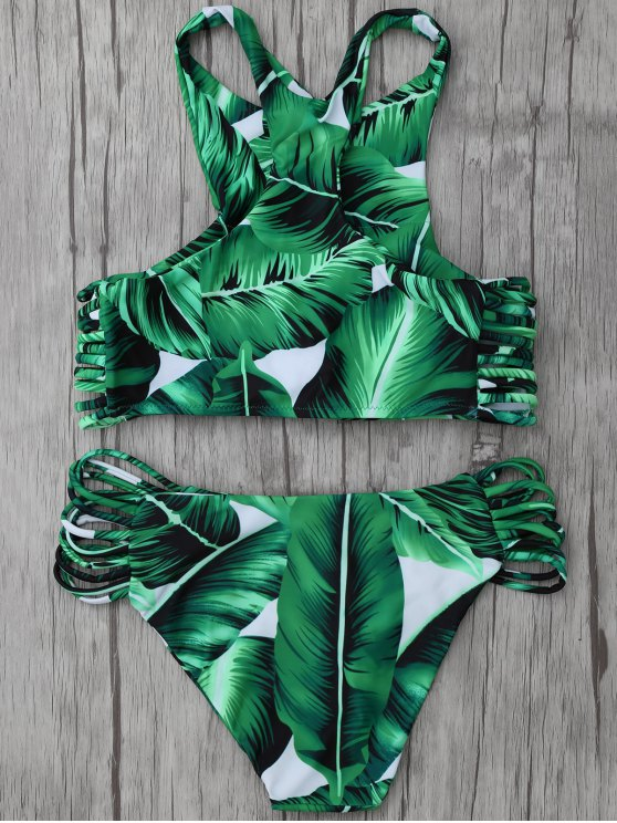 Leaf Print High Neck Stringy Bikini - GREEN XL Mobile