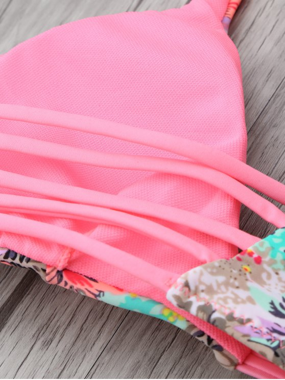 Printed Spaghetti Strap Bikini - PINK S Mobile