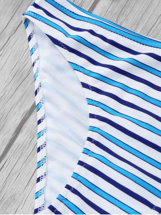 Striped Color Block Underwire Bikini - STRIPE L Mobile