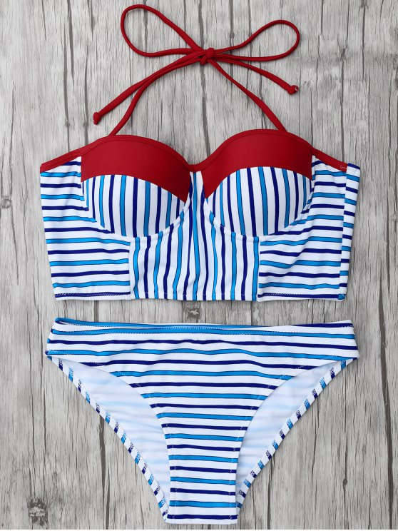 Striped Color Block Underwire Bikini - STRIPE M Mobile