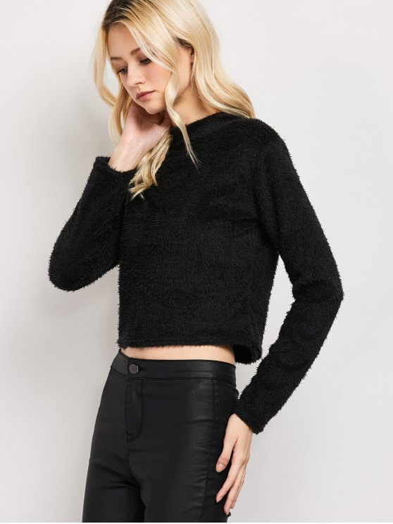 High Neck Fuzzy Cropped T-Shirt - BLACK L Mobile