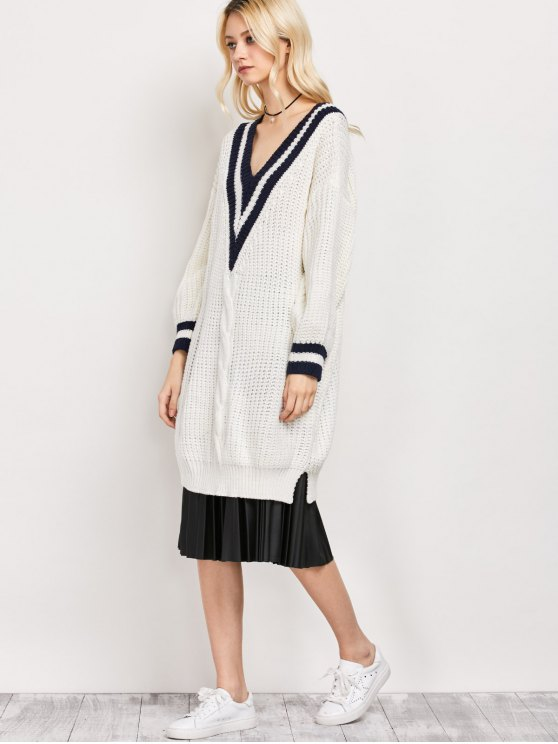 V Neck Cable Knit Cricket Sweater - WHITE ONE SIZE Mobile