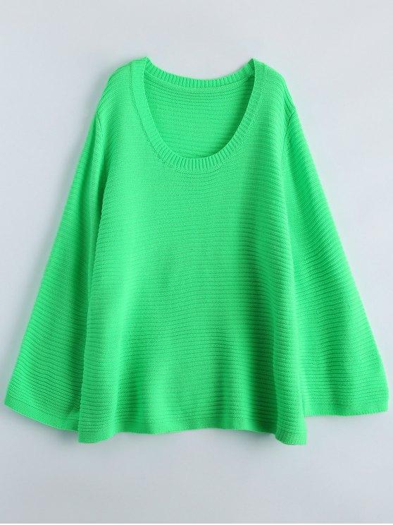 Fluorescent Kimono Sleeve Sweater - NEON GREEN ONE SIZE Mobile