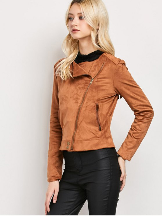 Fringe Asymetrical Suede Jacket - BROWN S Mobile
