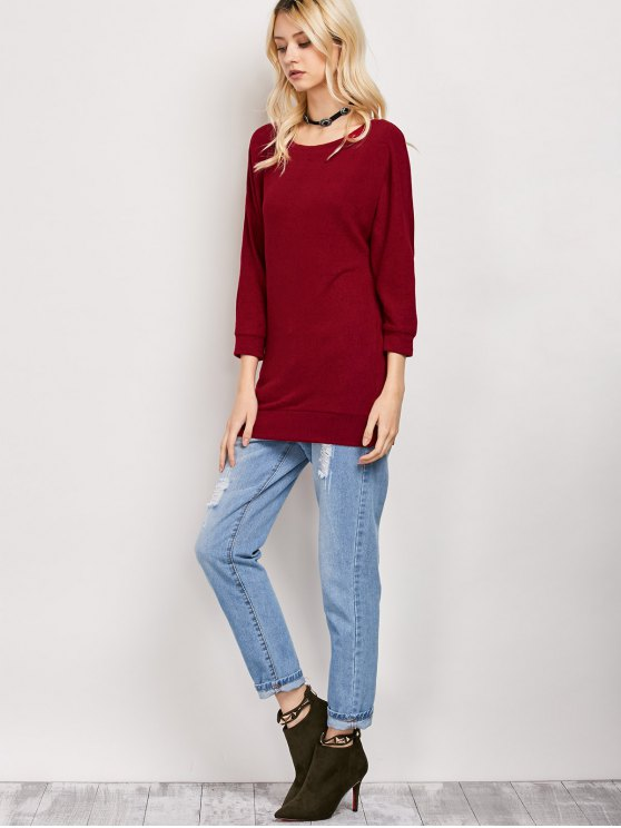 Dolman Sleeve Round Collar Sweatshirt - BURGUNDY M Mobile