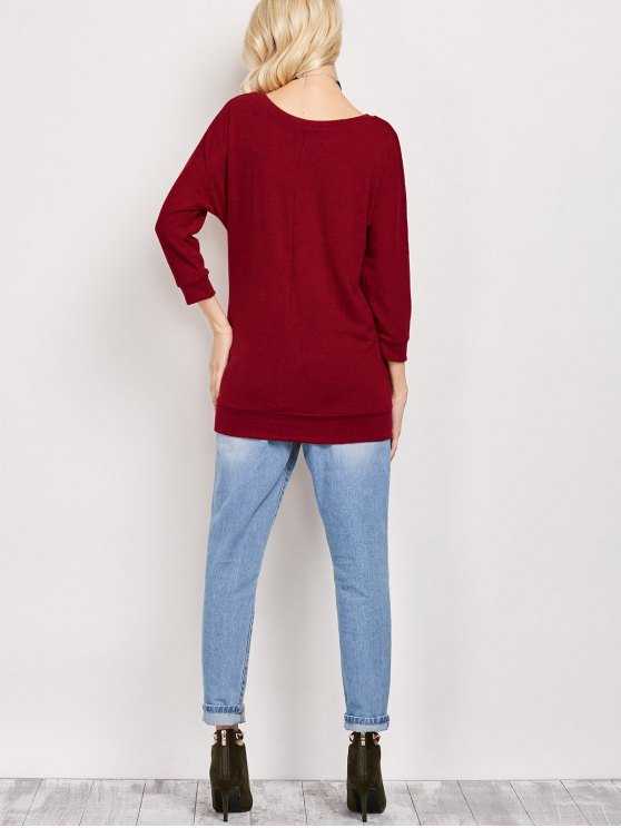 Dolman Sleeve Round Collar Sweatshirt - BURGUNDY L Mobile