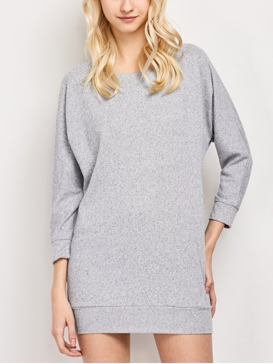 Dolman Sleeve Round Collar Sweatshirt - GRAY XS Mobile