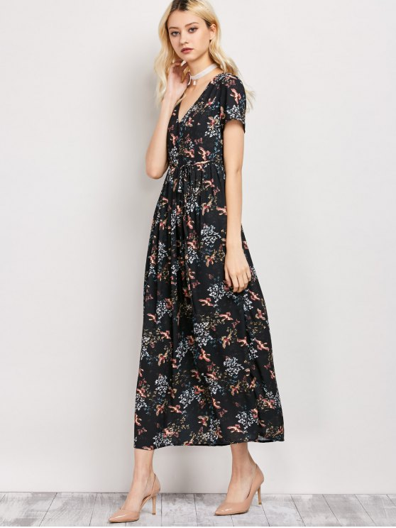 Tiny Floral V Neck Maxi Dress - BLACK L Mobile