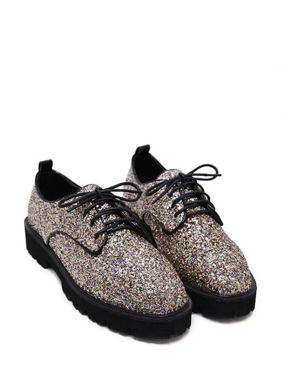 Sequined Lace Up Glitter Flat Shoes - GOLDEN 39 Mobile