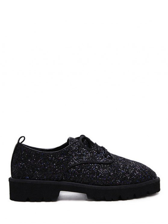 Sequined Lace Up Glitter Flat Shoes - BLACK 38 Mobile