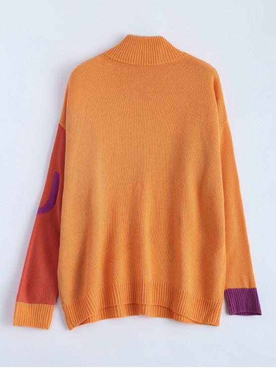 See You Graphic Funnel Neck Sweater - ORANGE ONE SIZE Mobile
