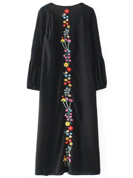 Floral Embroidered Tunic Midi Dress - BLACK M Mobile