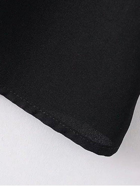 Floral Embroidered Tunic Midi Dress - BLACK M Mobile