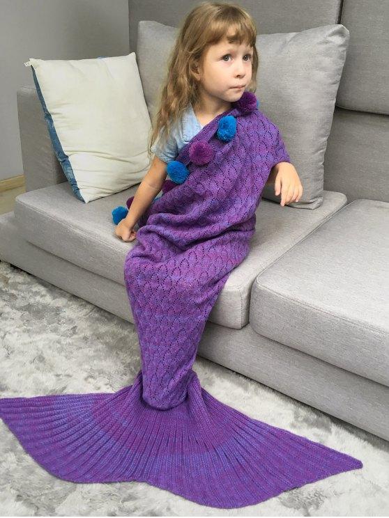 Openwork Pineapple Crochet Kids' Mermaid Blanket Throw -   Mobile