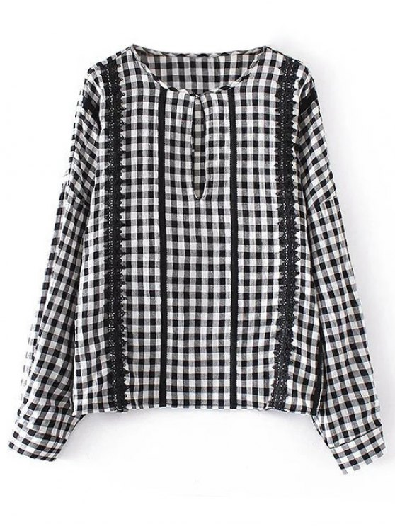Checked Lacework Blouse - PLAID S Mobile