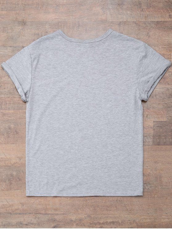 Short Sleeve Letter Print Boyfriend T-Shirt - GRAY M Mobile