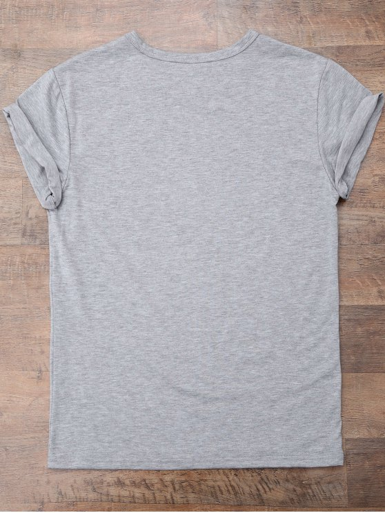 Short Sleeve Letter Boyfriend T-Shirt - GRAY S Mobile