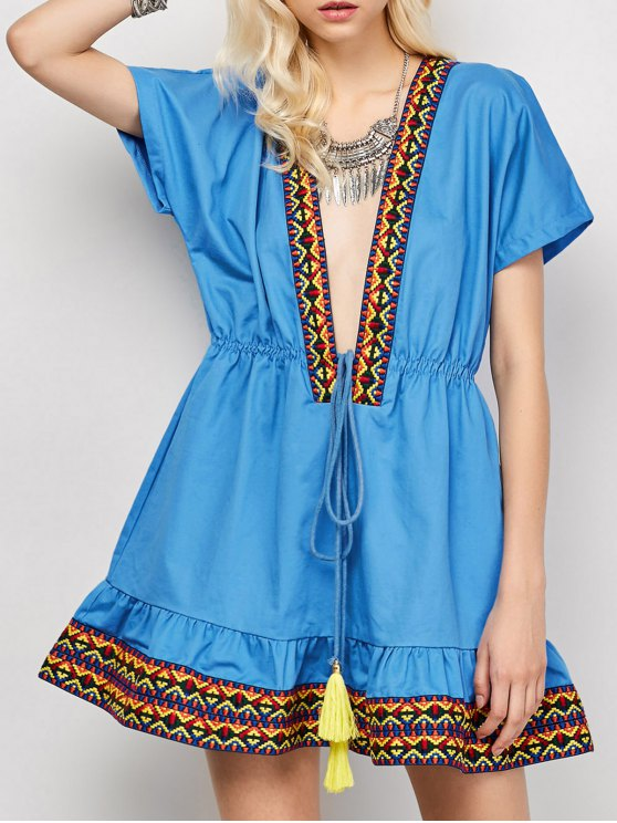 Embroidered Plunging Neckline Dress - BLUE XL Mobile