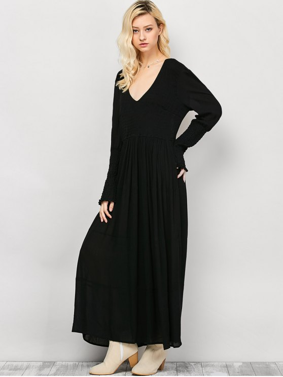 Long Sleeve Open Back Maxi Dress - BLACK XL Mobile