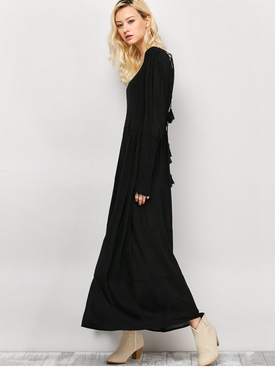 Long Sleeve Open Back Maxi Dress - BLACK S Mobile