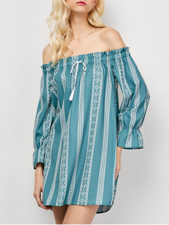 Striped Off The Shoulder Mini Dress - LIGHT GREEN XL Mobile