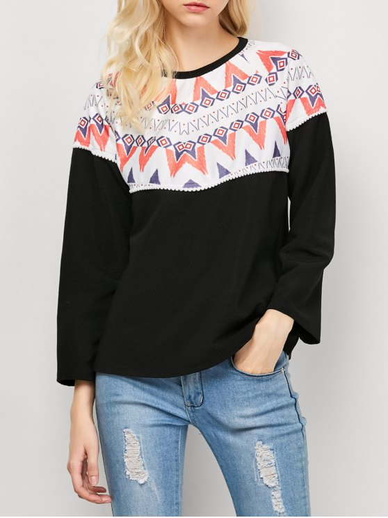 Oversized Geometric Print T-Shirt - BLACK S Mobile
