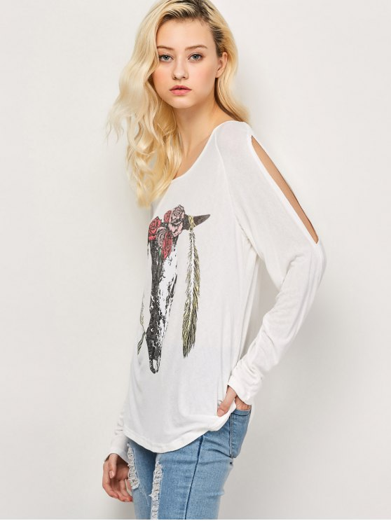 Printed Cold Shoulder T-Shirt - WHITE XL Mobile
