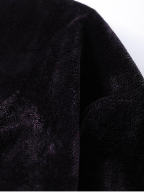 Oversized Velvet Letter Sweatshirt - BLACK ONE SIZE Mobile