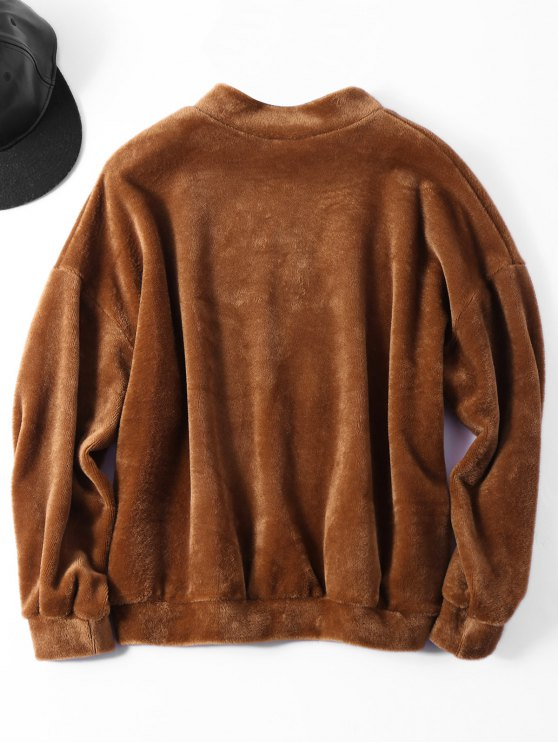 Oversized Velvet Letter Sweatshirt - COFFEE ONE SIZE Mobile