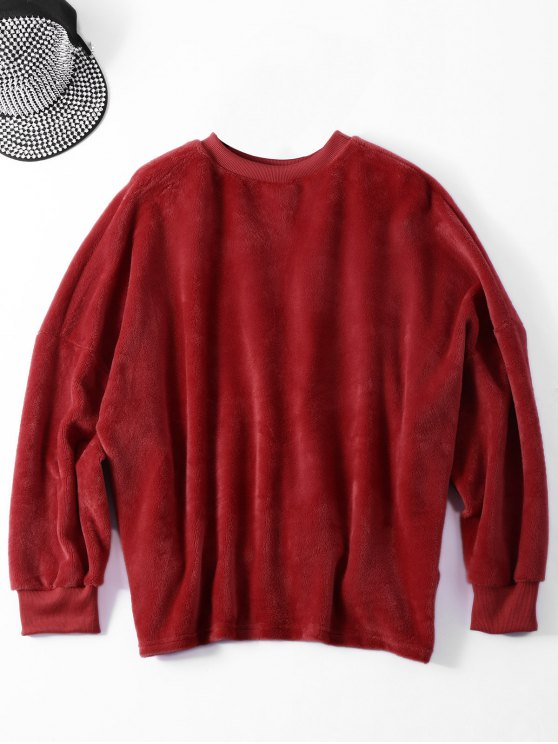 Velvet Letter Wool Blend Sweatshirt - DARK AUBURN ONE SIZE Mobile