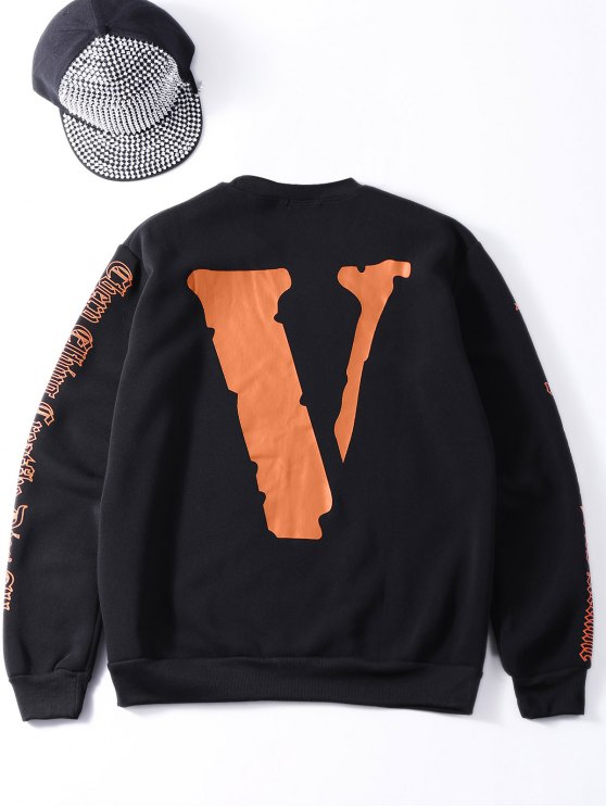 Oversized Velvet Sweatshirt With Letter Print - BLACK ONE SIZE Mobile