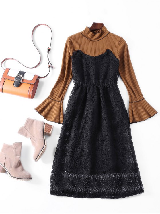 Flare Sleeve Lace Panel Midi Dress - BROWN ONE SIZE Mobile