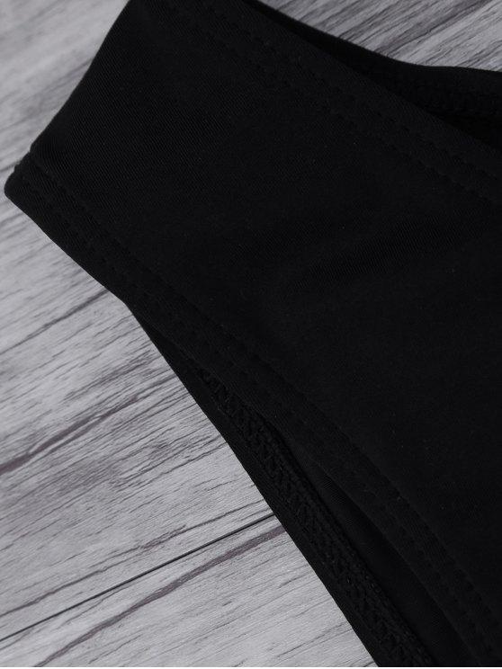 Leaf Print High Neck Sporty Bikini - BLACK S Mobile