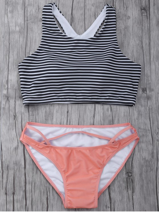 Striped High Neck Cutout Bikini Set - ORANGEPINK S Mobile