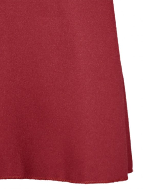 Flare Sleeve V Neck Shift Dress - RED M Mobile